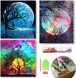 3 Pack DIY 5D Diamond Painting Moon and Tree Theme by Number Kits,Full Diamond Rhinestone Cross Stitch Pictures Arts Craft -Home Wall Decor Art Gift for Man Women Kids, Art Present for Man Women Kids
