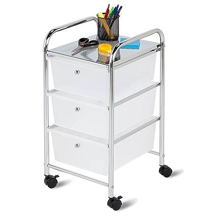 Honey Can Do 3 Drawer Plastic Storage Cart On Wheels