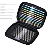Blulu 23 Pieces Multicolor Aluminum Crochet Hooks Letter Sizes Knitting Needles with Bag and 6 Pieces Large-eye Blunt Needles