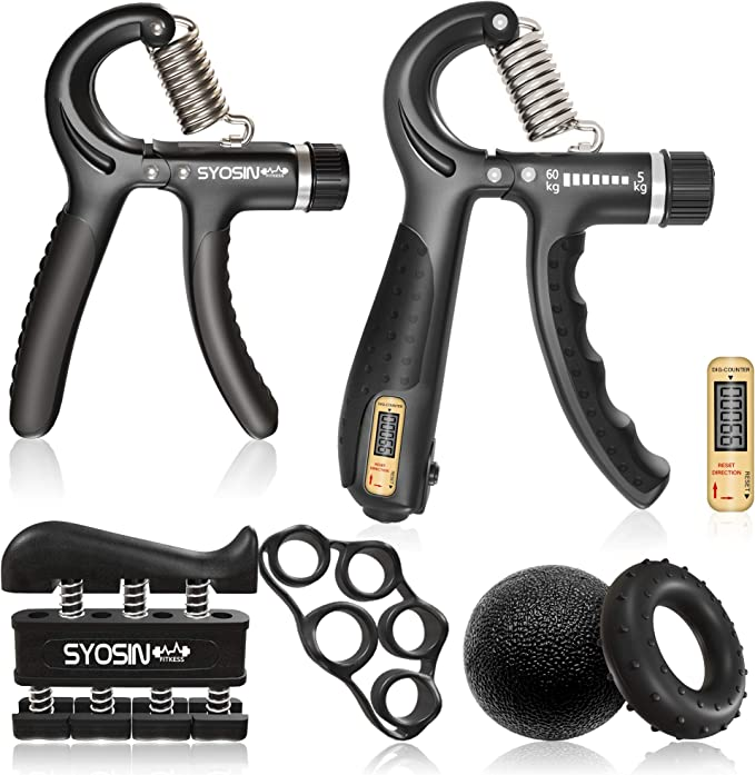 Hand Grip Strengthener Workout Kit 5 Pack Forearm Grip Adjustable Res