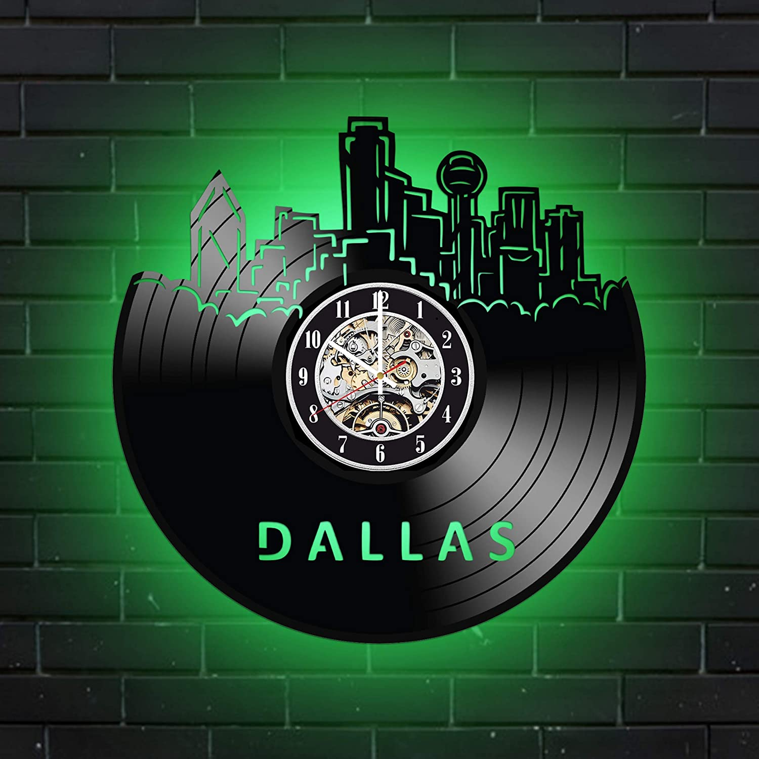 Levescale Dallas Lighted Vinyl Wall Clock - Exclusive Texas Design - Perfect USA Gift for Man Or Woman - Decoration for Bedroom, Living Room Or Office - City Downtown Skyline Travel (Green)