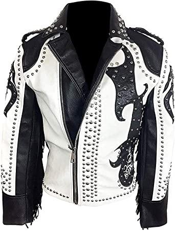 III-Fashions Brando Biker Studded Fringes Ladies Genuine Leather Motorcycle Black Jacket