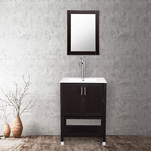 24 Modern MDF Bathroom Vanity and Sink Combo Stand Cabinet with Vanity Mirror,Vessel Sink with Faucet Hole and Pop Up Drain,Espresso Wood Vanity Units