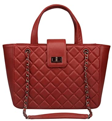 9d775dd930 Ainifeel Women s Quilted Genuine Leather Tote Bag Shopping Handbags (Large