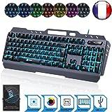 KLIM LIGHTNING - NOUVEAU - Clavier Hybride Semi-Mécanique AZERTY + Choix de 7 couleurs + Garantie 5 ans - Structure en Métal - Clavier gamer gaming jeux vidéos PC Windows, Mac