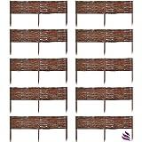 Floranica 10 X Bordura in legno naturale impregnato - Bordura in 25 dimensioni, recinto in vimini per aiuole, paletti in faggio, Lunghezza:100 cm, Altezza:20 cm