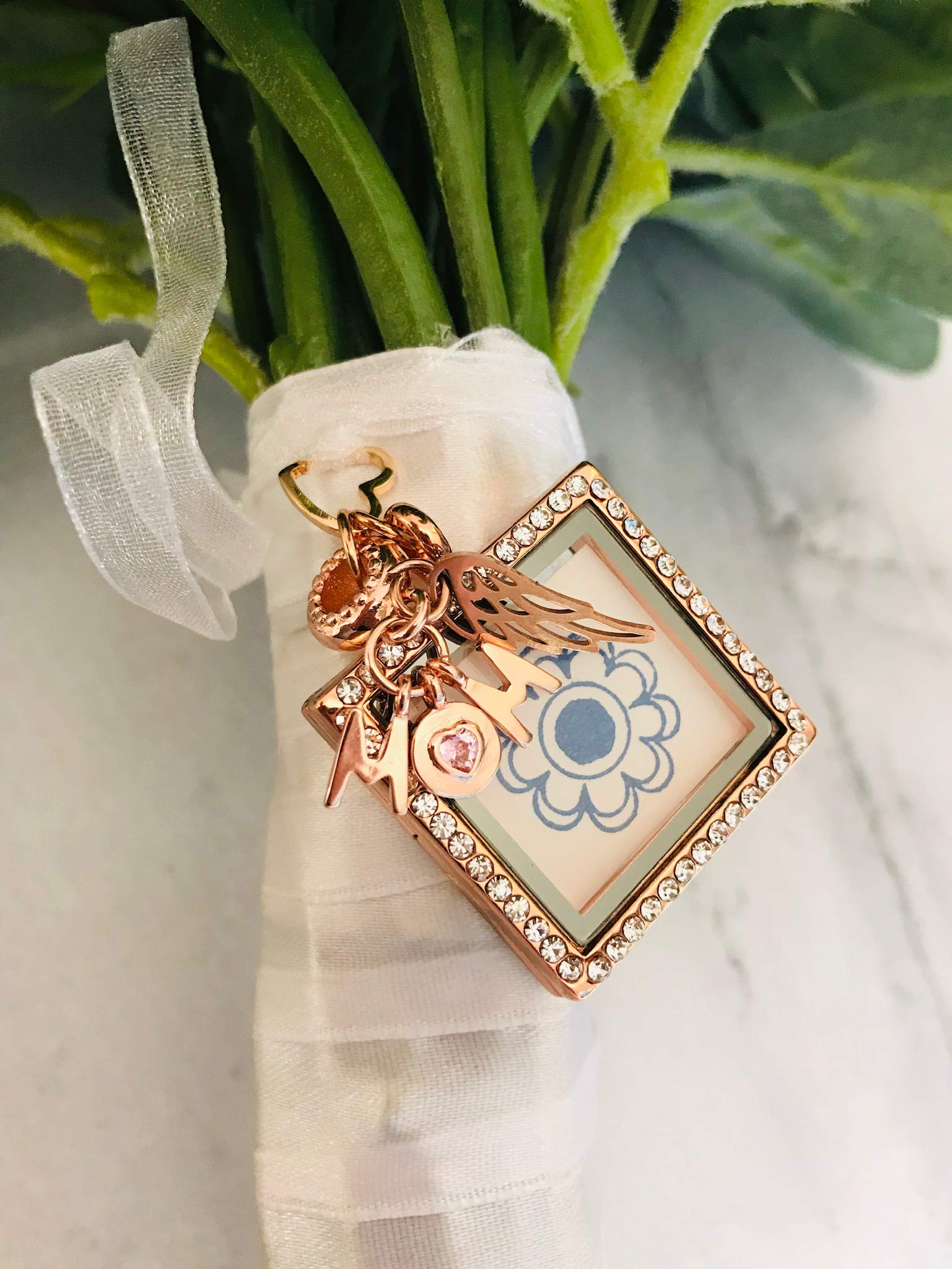 Harper Olivia Rose Gold Wedding Memorial Bridal Bouquet Photo Charm Missing You As I Walk Down The Aisle Wedding Memorial Gift for Mom