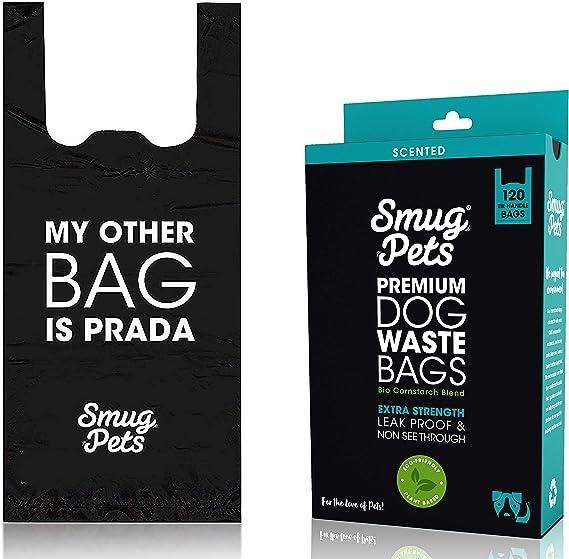 SmugPets - 120 Bolsas biodegradables para excrementos - con Asas ...