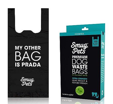 SmugPets - 120 Bolsas biodegradables para excrementos - con Asas fáciles de Atar y perfumadas - XL