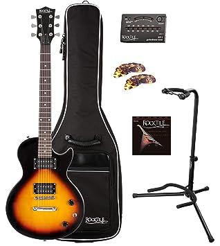 Rocktile Guitarra eléctrica L-100 SB (con funda, afinador, soporte, juego cuerdas y púas): Amazon.es: Instrumentos musicales