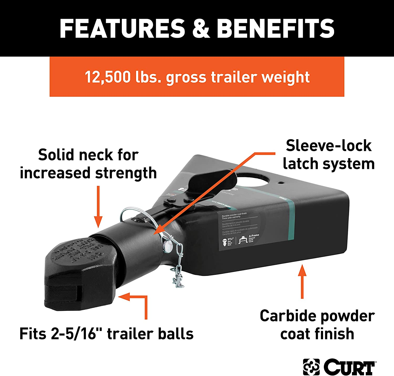 12,500 lbs CURT 25227 Black A-Frame Trailer Coupler Accepts 2-5//16-Inch Hitch Ball