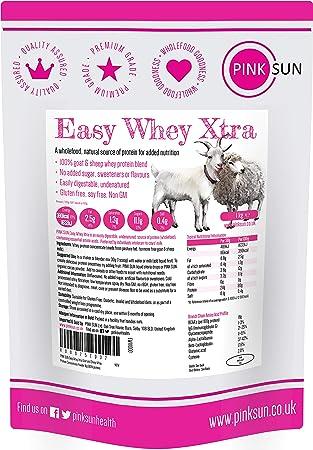 PINK SUN Proteína de Suero de Cabra y Oveja 1kg sin Hormonas Neutro sin Sabor sin Gluten sin Soja Easy Whey Xtra Goat and Sheep Whey Protein ...