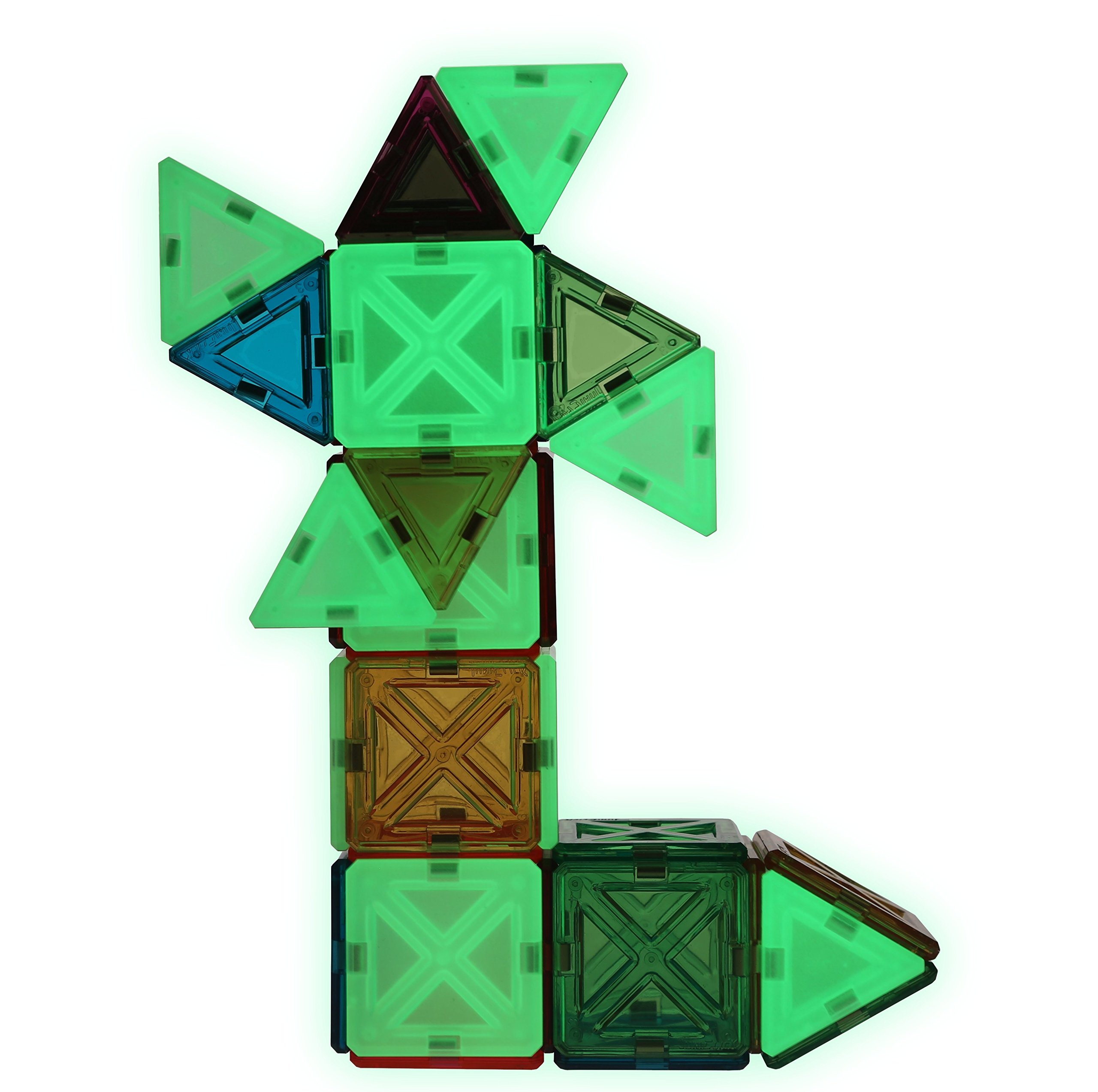 JuniClick Translucent Magnetic Building Mini Tiles, 54 Piece Starlight Set