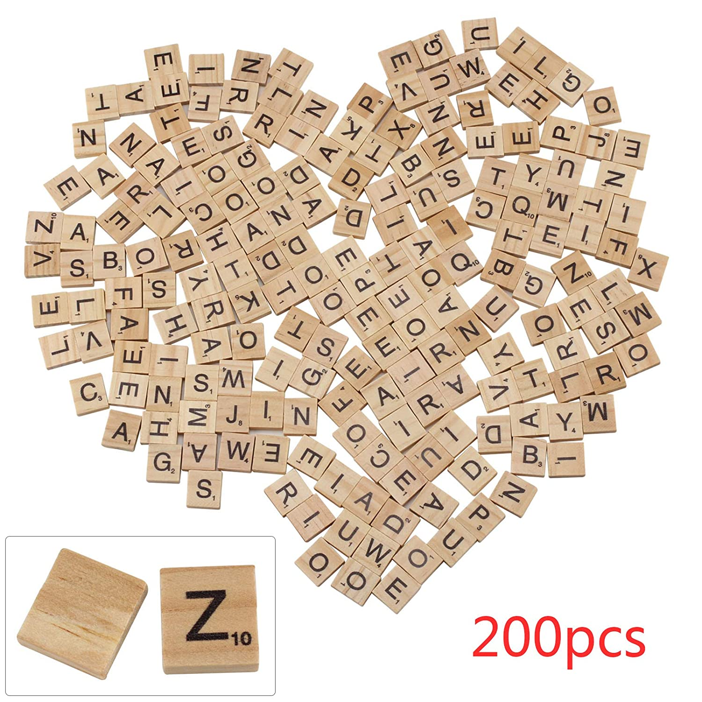 PetHot 200 Pcs Wooden Scrabble Tiles Black Letters Numbers Board Crafts Wood Alphabets JY