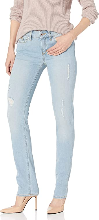 Yummie Womens Modern Mid Rise Slimming Straight Denim Jeans