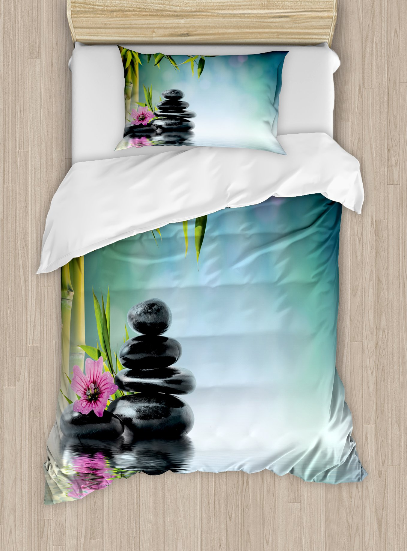 Ambesonne Spa Duvet Cover Set Twin Size, Tower Stone and Hibiscus with Bamboo on The Water Blurry Background, Decorative 2 Piece Bedding Set with 1 Pillow Sham, Petrol Blue Fuchsia Lime Green