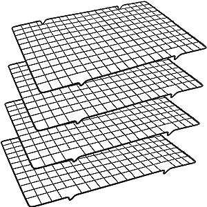 HiGift 4 Pack Cooling Baking Racks for Baking, Wire Baking Rack Bakeware Size 16''x10''