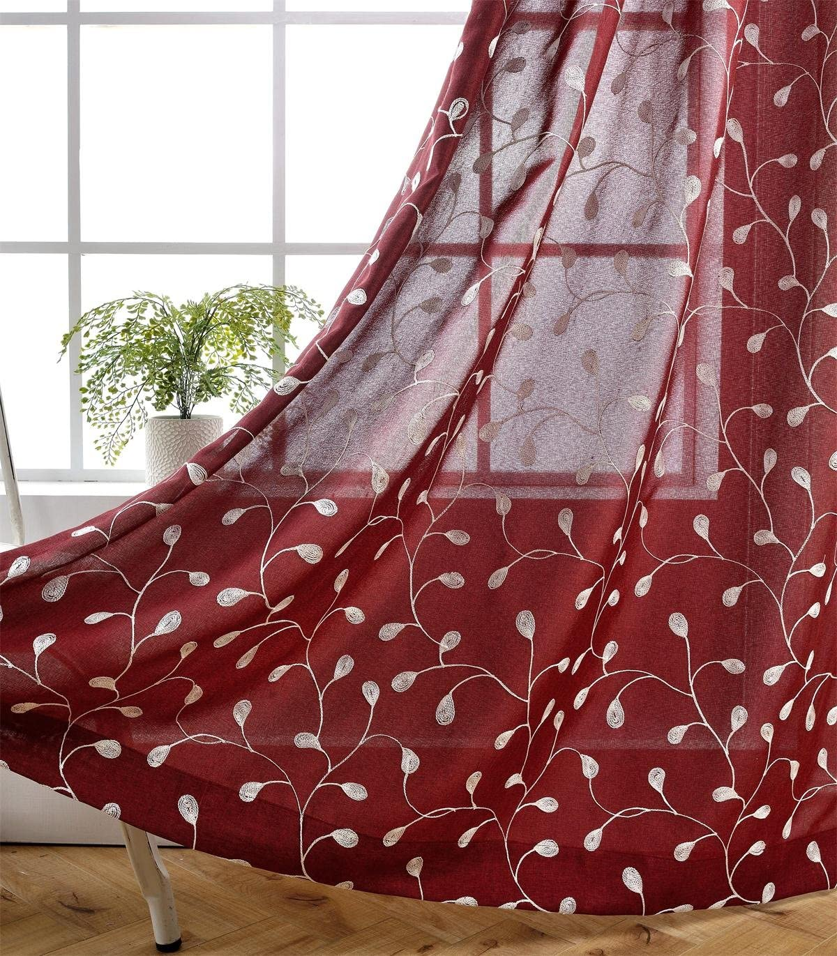 MIUCO Floral Embroidery Semi Sheer Curtain Panels Faux Linen Grommet Curtains for Kids Room 52 x 95 Inch 2 Panels, Burgundy