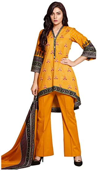 d7a1460c26 Surkhab Impressions Women's Pakistani Pure Lawn Cotton Embroidered  Unstitched Salwar Suit Dress Material: Amazon.in: Clothing & Accessories