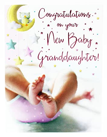 New Baby Girl Granddaughter Congratulations Greeting Card Newborn