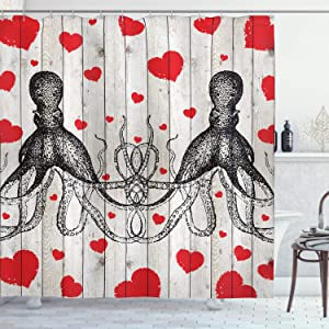 "Ambesonne Love Shower Curtain, Sketchy Octopus Animal and Hearts on Grunge Wooden Planks Image, Cloth Fabric Bathroom Decor Set with Hooks, 70"" Long, Vermilion Charcoal"