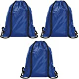 Halfar Set of 3 Blue Drawstring Bags Rucksack Adult & Kids PE School Swimming Girls Boys Backpack Party Swim Sack Gym Sports Outdoor Activities