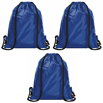 Halfar Set of 3 Blue Drawstring Bags Rucksack Adult   Kids PE School  Swimming Girls Boys Backpack Party Swim Sack Gym Sports Outdoor Activities   ... 097c837a8c483