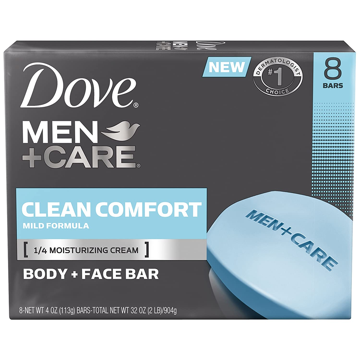 Dove Men + Care Body and Face Bar 8 Piece, Clean Comfort, 4 Ounce