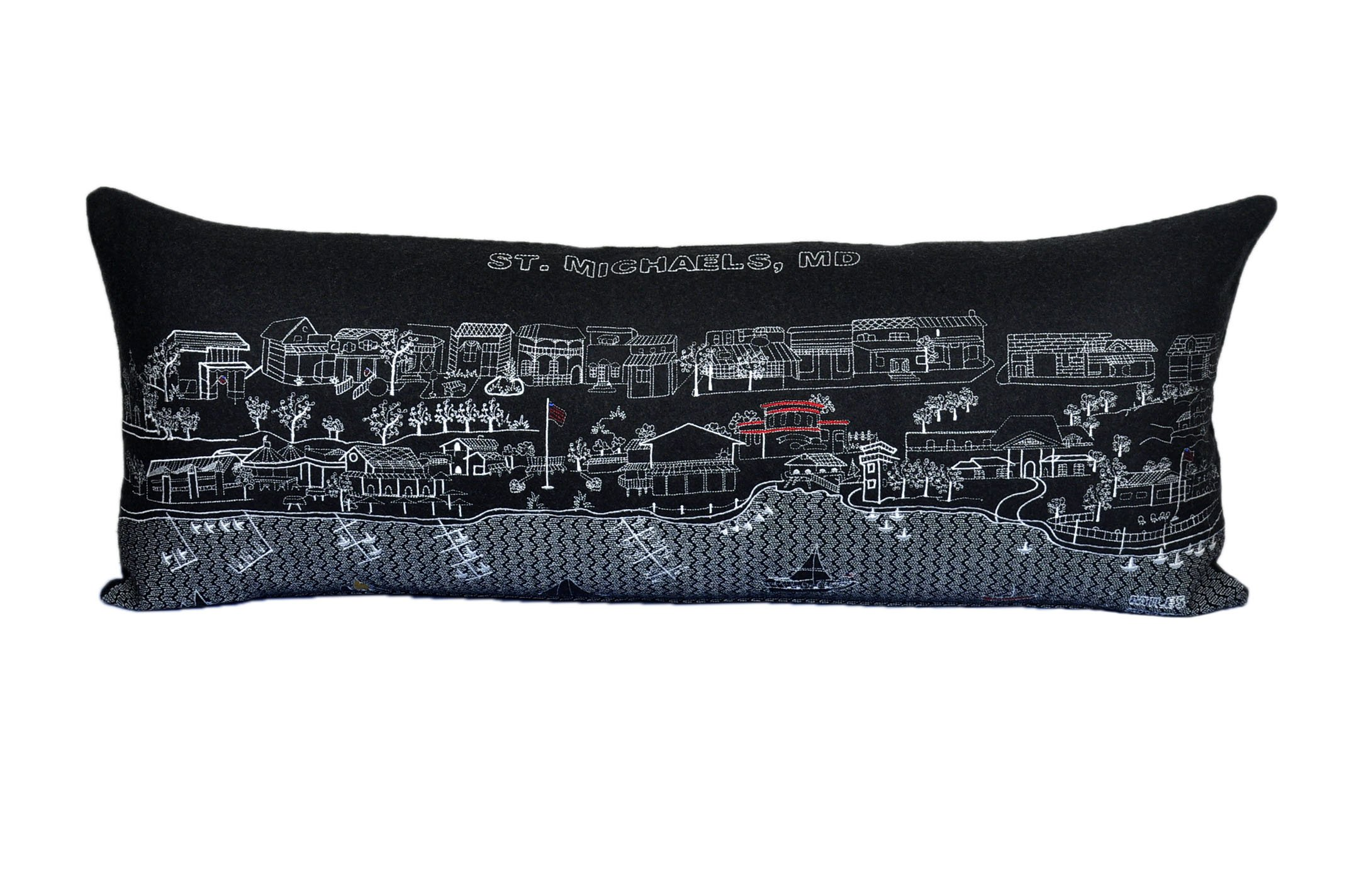 Beyond Cushions Polyester Throw Pillows Beyond Cushions St. Michaels Md Night Skyline Queen Size Embroidered Pillow 35 X 14 X 5 Inches Black Model # STM-NGT-QUN