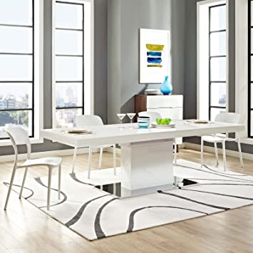 Modway Vector Expandable Dining Table In White Silver