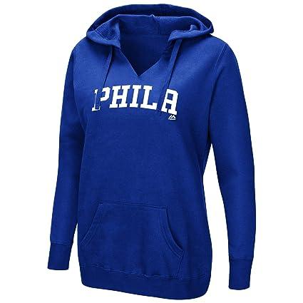 buy popular ac098 b0ae2 Majestic Philadelphia 76ers NBA Women s Done Better V-Neck Pullover Fleece  Hoodie (X-