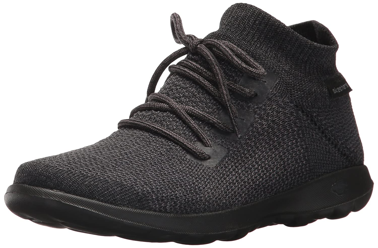 Black  Grey Skechers Womens GO Walk Lite Lace-Up Sneakers