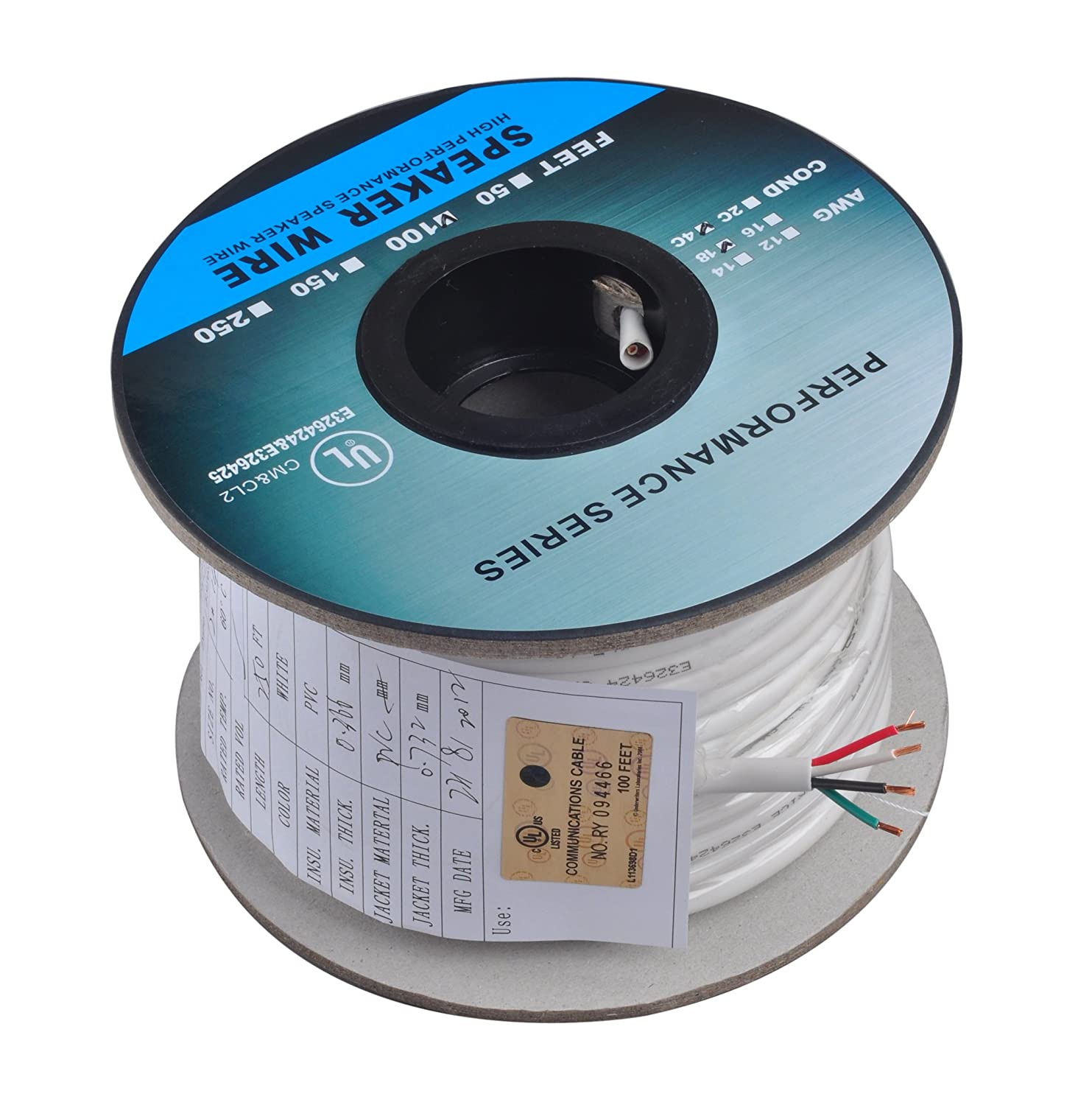 81FSlmHoJSL._SL1500_ amazon com c&e 500 feet 14awg 4 conductor solid copper, oxygen 4 conductor speaker wire diagram at creativeand.co