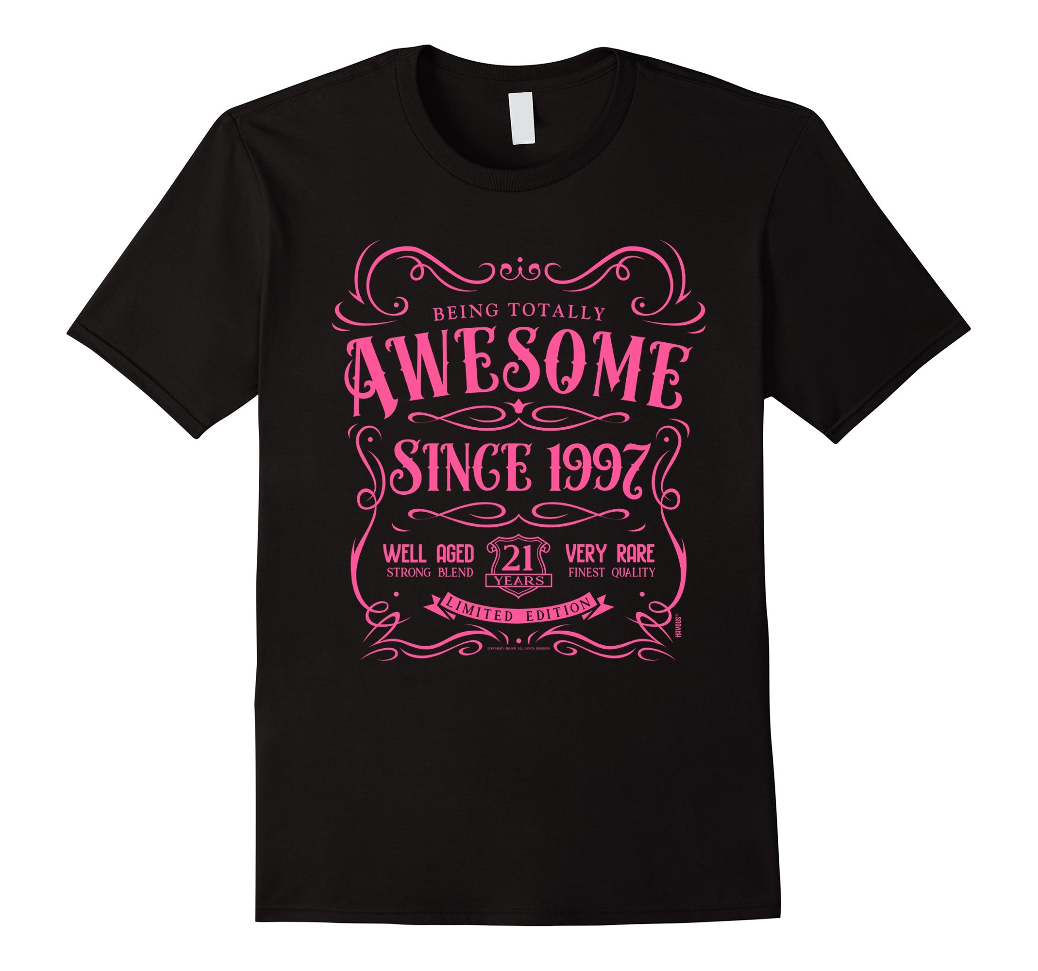 21st Birthday Gift T-Shirt Awesome Since 1997 Pink