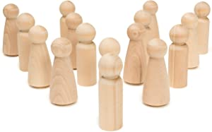 Unfinished Wood Peg Doll Bodies -Includes 5 Dad Dolls 3-9/16 Inch and 5 Mom Dolls 3-1/2 Inch by Woodpeckers