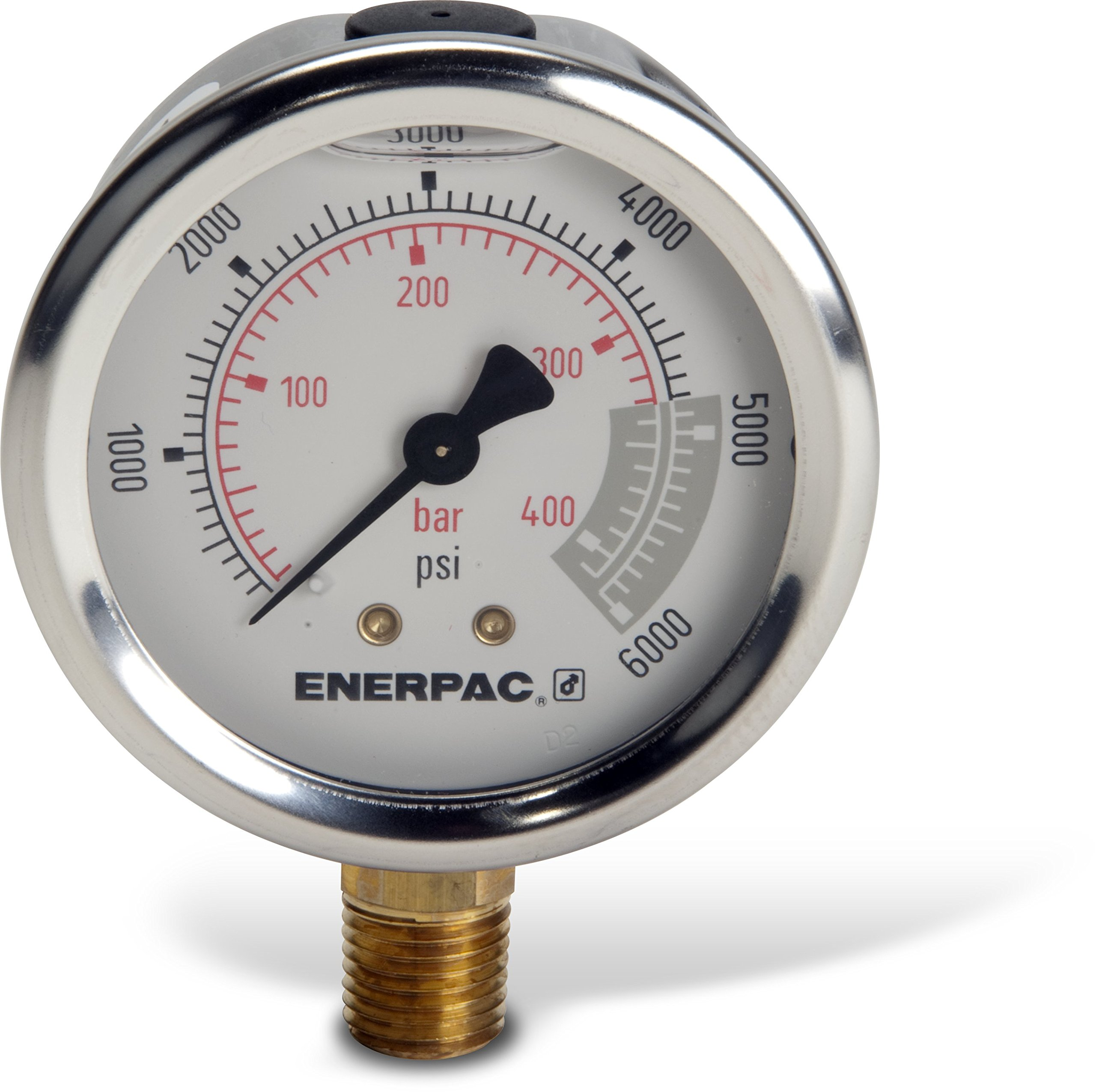 Enerpac G2517L Hydraulic Pressure Gauge with Dual 0 to 6,000 PSI and 0 to 400 Bar Range, 2-1/2''-Dia. Face, 1/4'' NPTF Male, Lower-Mount Connection