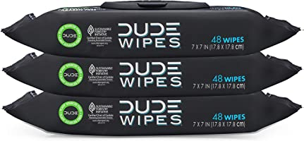 DUDE Wipes Flushable Wet Wipes Dispenser (3 Packs 48 Wipes), Unscented Wet Wipes with Vitamin-E & Aloe for at-Home Use,...