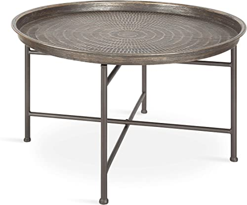 Kate and Laurel Mahdavi Boho-Chic Hammered Metal Tray Coffee Table, Brushed Silver
