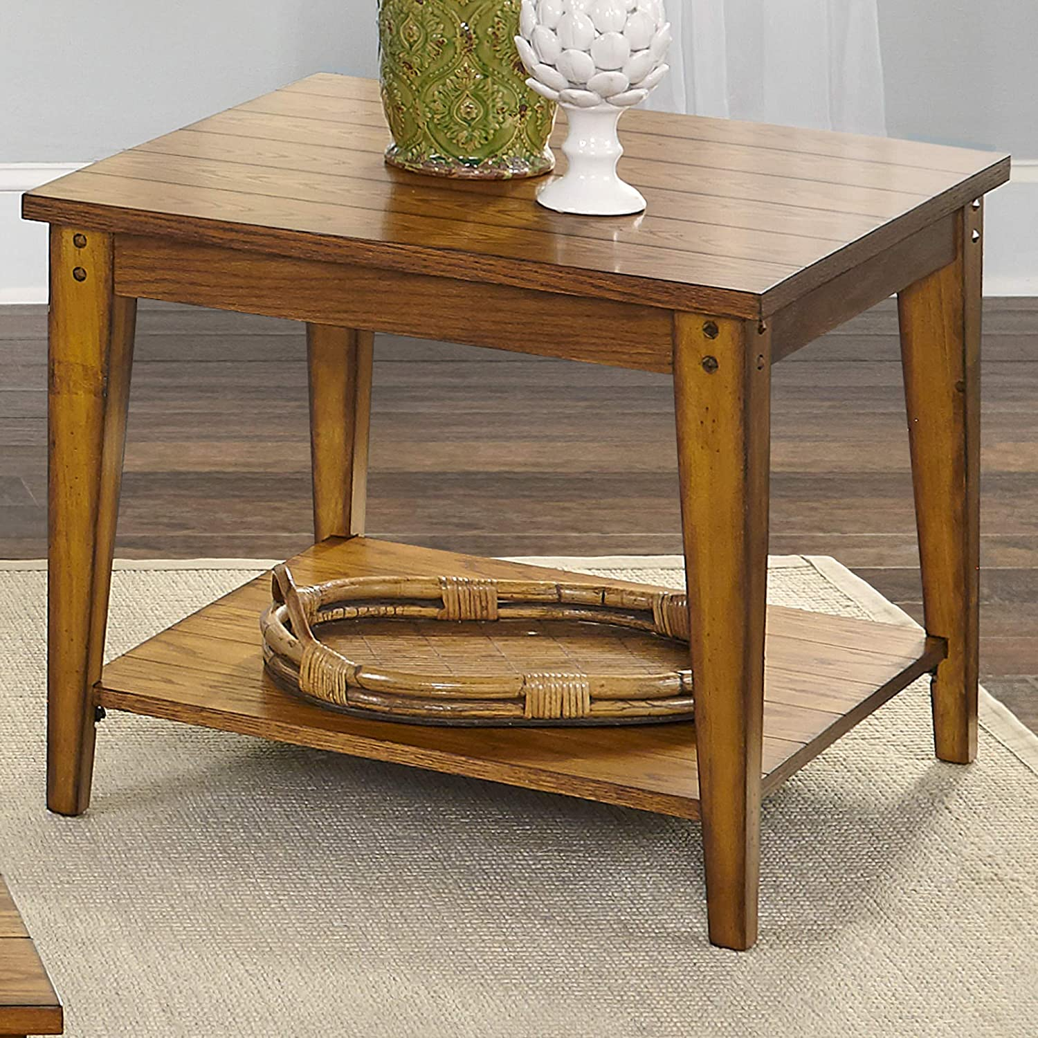 Liberty Furniture Industries Lake House Square Lamp Table, W27 x D27 x H23, Medium Brown