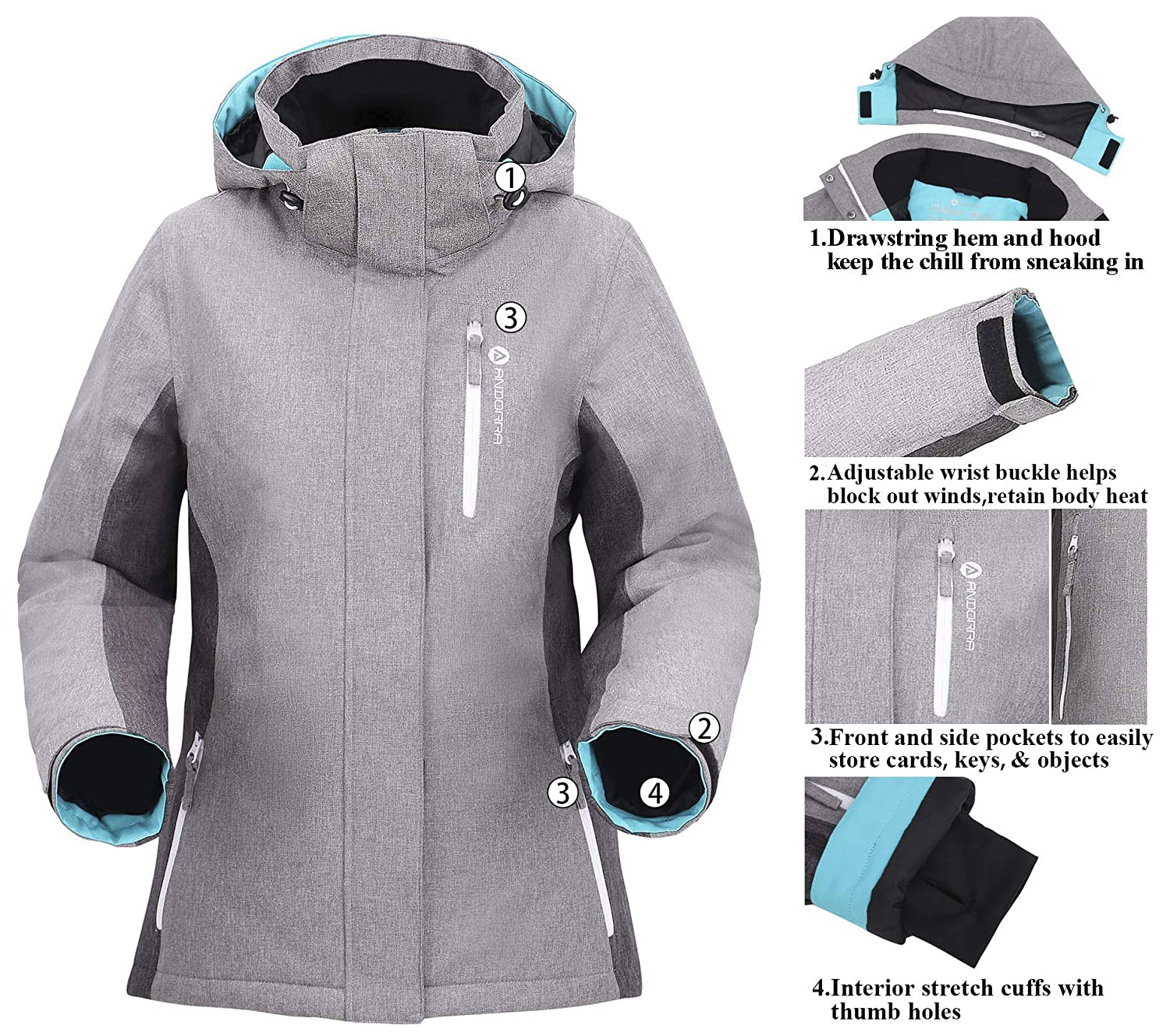 Andorra Womens Performance Insulated Ski Jacket with Zip-Off Hood
