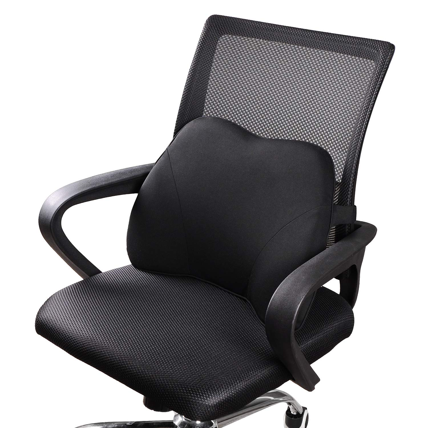Dreamer Car Mini Supportive Chair Cushion Lumbar Pillow Design for Lower Back Pain Relief, Memory Foam Back Support for Office Chair/Computer Chair/Home/etc, Black by Dreamer Car