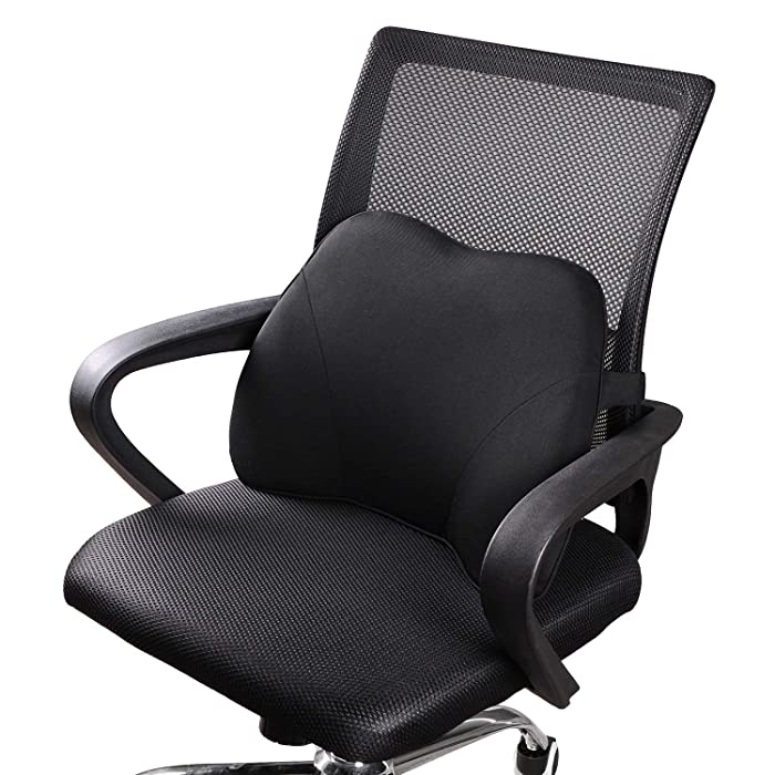 Dreamer Car Mini Supportive Chair Cushion Lumbar Pillow Design for Lower Back Pain Relief, Memory Foam Back Support for Office Chair/Computer Chair/Home/etc, Black