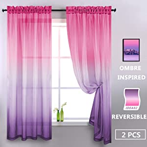 Purple and Pink Sheer Curtains for Girls Bedroom Room Decor 2 Panels Rod Pocket Faux Linen Semi Voile Drapes Ombre Window Pastel Curtains for Kids Living Room Decoration Party 52 x 84 Inch Length