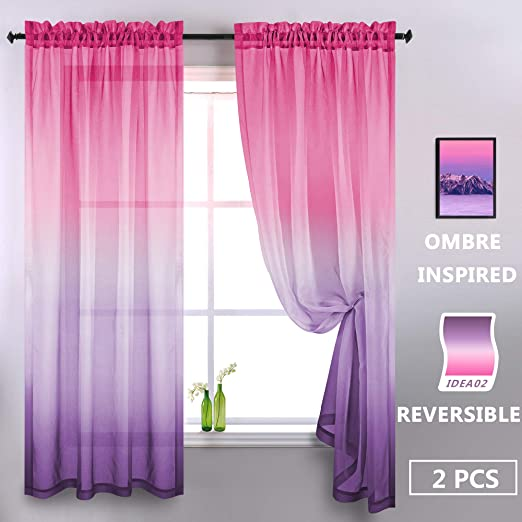 Amazon Com Aurora Sky Themed Gradient Two Tone Ombre Curtains