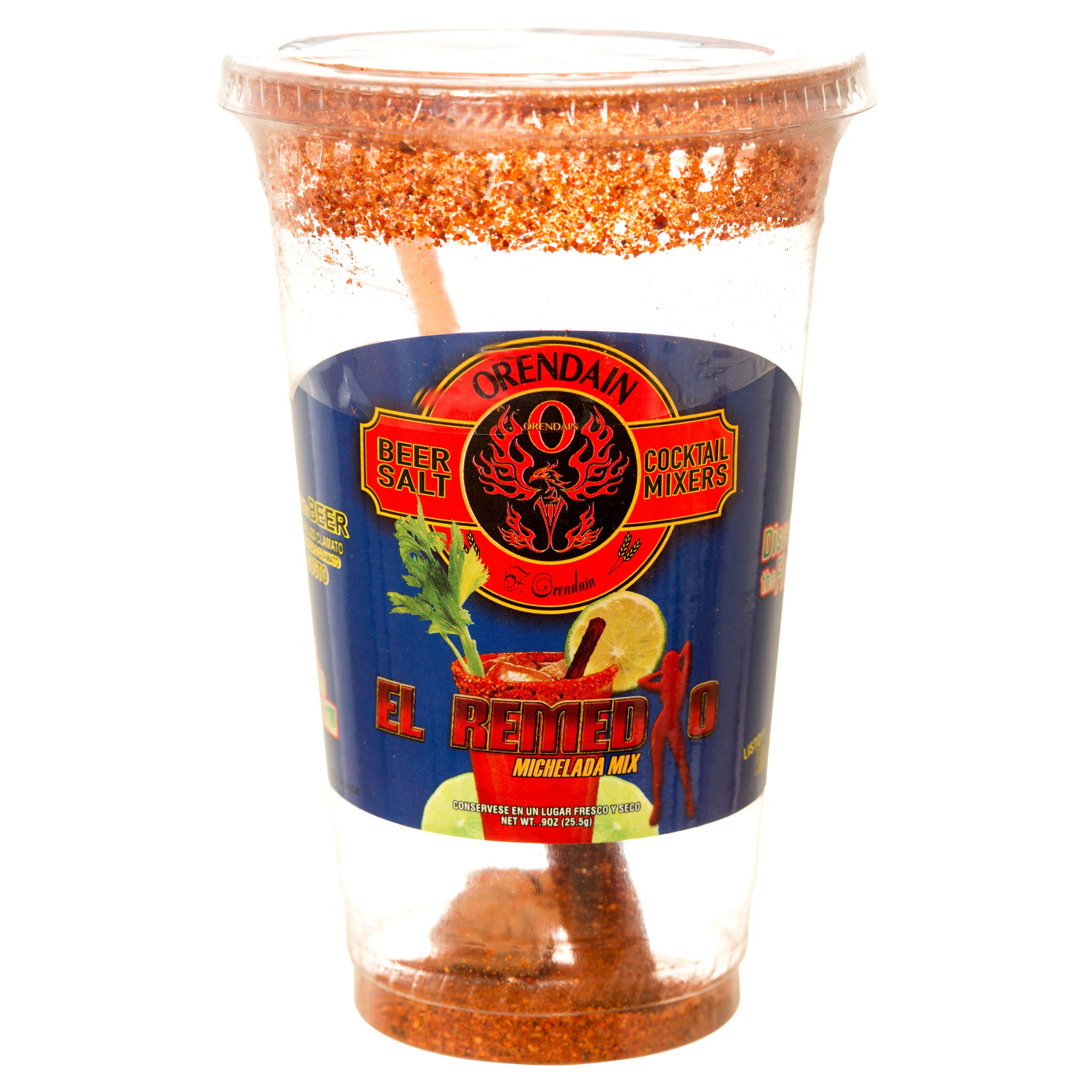 Orendain Beer Salt Cocktail Mixers El Remedio Michelada Mix with Tamarind Stick (Clear Cup) (6)