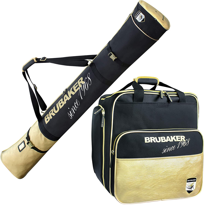 Brubaker Kombi Set St. Moritz - Skisack und Skischuhtasche für 1 Paar Ski + Stöcke + Schuhe + Helm - Schwarz Gold