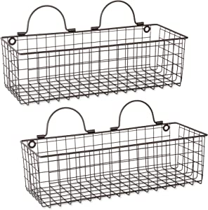 DII Z02020 Rustic Farmhouse Vintage Hanging Wall Mounted Wire Metal Basket, Set of 2 Medium, Bronze
