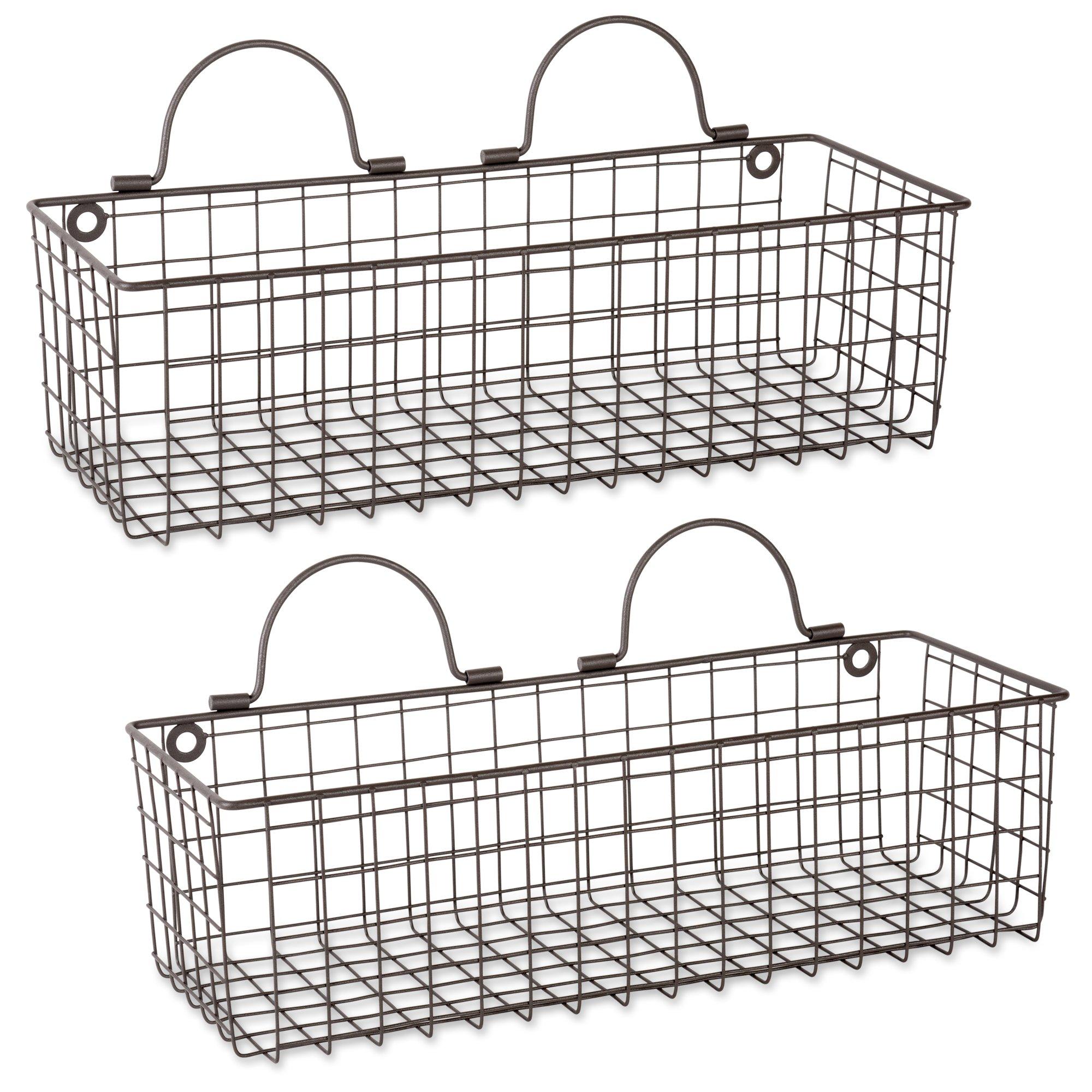 DII Z02020 Rustic Farmhouse Vintage Hanging Wall Mounted Wire Metal Basket, Set of 2 Medium, Bronze