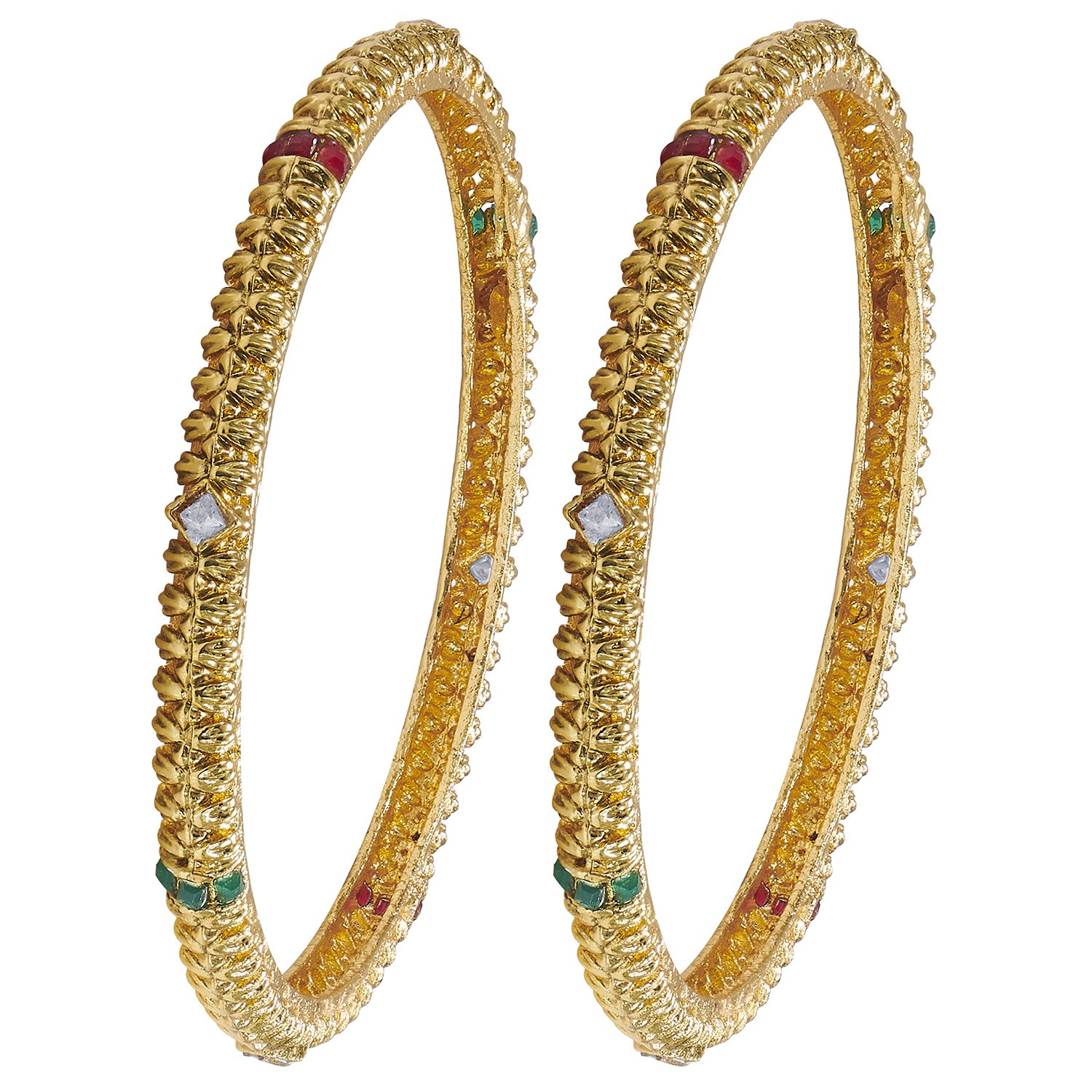 Aheli Indian Traditional Ethnic Style Golden Toned Bangle Set Encrusted with Green and Red Color Stones for Women and Girls