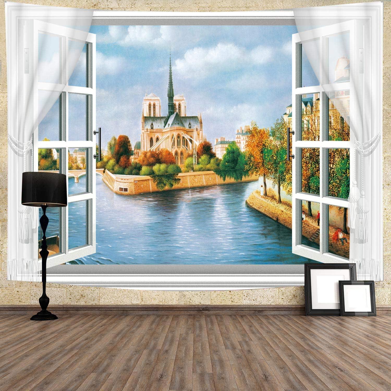 Coastal Castle Tapestry Outside the Window Seaside Scenery Wall Decor 80''x60'' Wall Hanging for Bedroom Living Room Dorm GTZDTY75